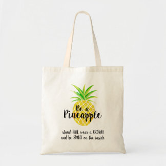 Be a Pineapple Wear a Crown Watercolor Tote Bag