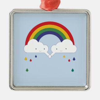 Be a Rainbow Silver-Colored Square Decoration