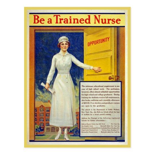 Be a trained nurse, restored vintage postcard