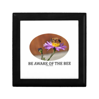 Be Aware Of The Bee (Bee On A Flower) Small Square Gift Box
