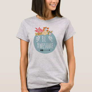 Be Awesome Floral Badge Summer T-Shirt