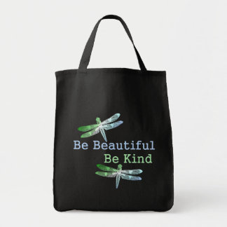 Be Beautiful, Be Kind Dragonflies Grocery Tote Bag