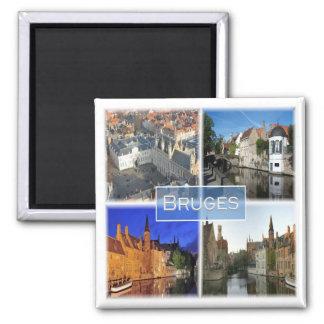 BE * Belgium - Bruges Square Magnet