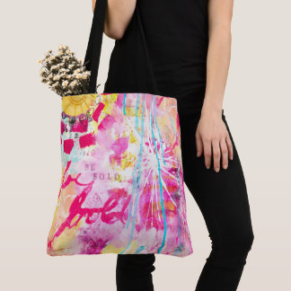 Be Bold Abstract Paint Splatter Artistic Bright Tote Bag