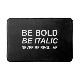 Be Bold Italic Regular Font White Bath Mat