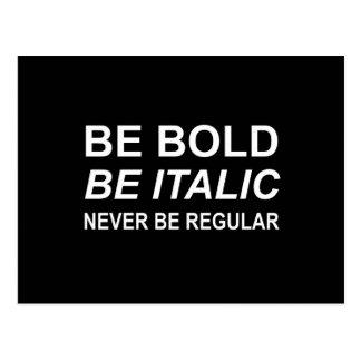 Be Bold Italic Regular Font White Postcard