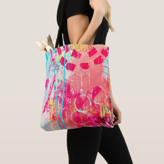 Be Brave Abstract Art Paint Splatter Colorful Fun Tote Bag