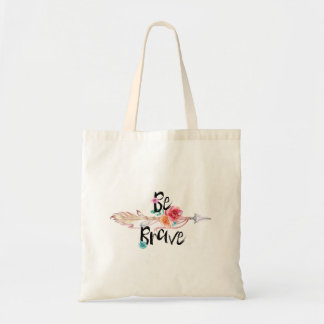 Be Brave Arrow with Flowers Tote Bag