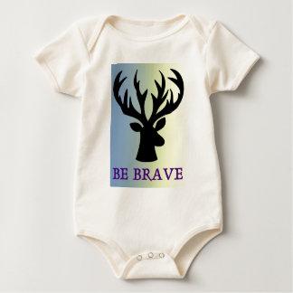 Be brave deer head shadow baby bodysuit