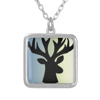 Be brave deer head shadow silver plated necklace