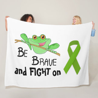 Be Brave Fight on Frog Fleece Blanket