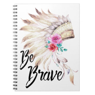 Be Brave With A Watercolor Indian Headdress Notebooks