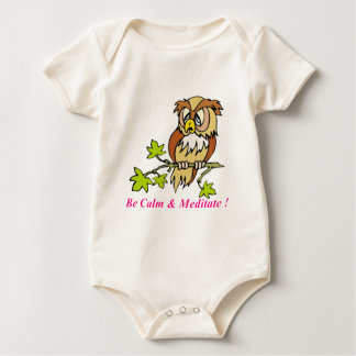 Be calm and Meditate Owl Baby Bodysuit