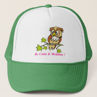 Be calm and Meditate Owl Trucker Hat