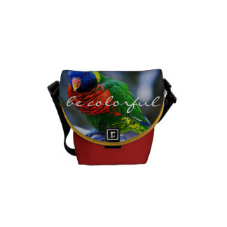 """Be Colorful"" Quote Red Blue Green Bird Photo Mini Commuter Bags"