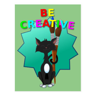 Be Creative Black and White Cat Postcard