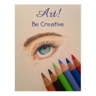 Be Creative Eye Sketch with Colored Pencils Postcard