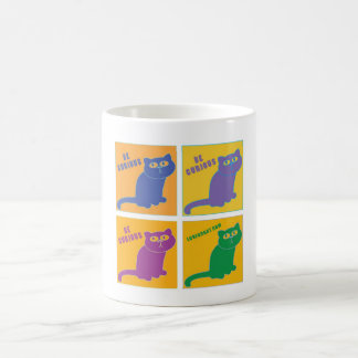 Be Curious Cat - Four Color Combo - LuvFurArt.com Basic White Mug