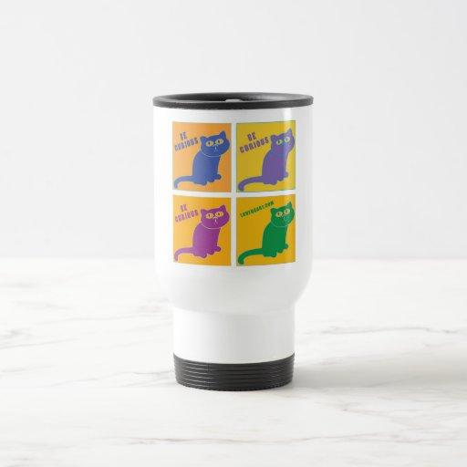 Be Curious Cat - Four Color  - LuvFurArt.com Mug