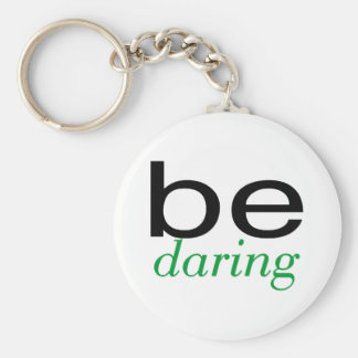Be Daring Green Basic Round Button Key Ring