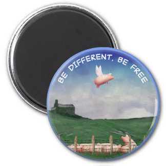 Be Different, Be Free 6 Cm Round Magnet