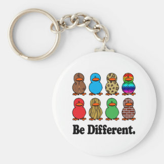 Be Different Ducks Basic Round Button Key Ring