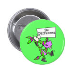 be different funky zebra pattern donkey 6 cm round badge