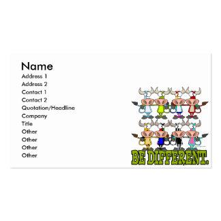 BE DIFFERENT funny funky cows Business Card