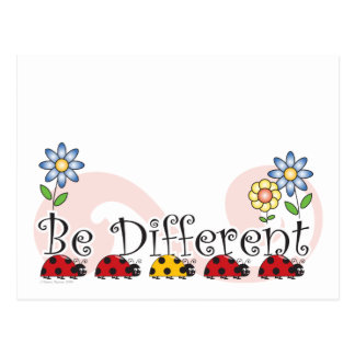 Be Different Ladybugs with Flowers Postcard