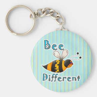 Be Different Spotted Bumble Bee Basic Round Button Key Ring