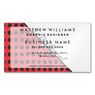 """""""Be Different."""" Typography on Red Black Polka Dots Magnetic Business Cards"""