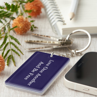 Be Free and Love rectangle keychain