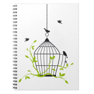 be free, open birdcage with birds and branches spiral note books