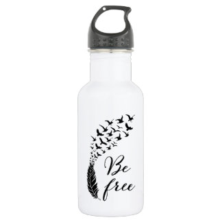 Be free with feather and birds 532 ml water bottle