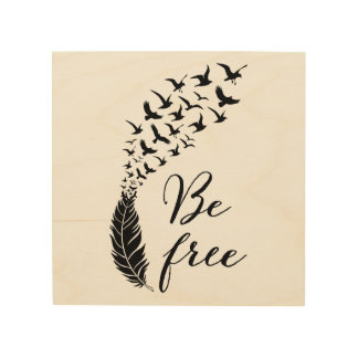 Be free with feather and birds wood wall decor