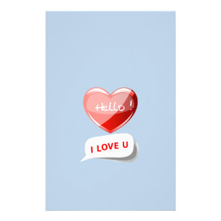 Be Friendly Hello. I Love U Heart On Chic Sky Blue Custom Stationery