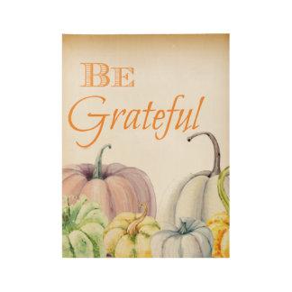 Be Grateful Watercolor Pumpkin Wall Art
