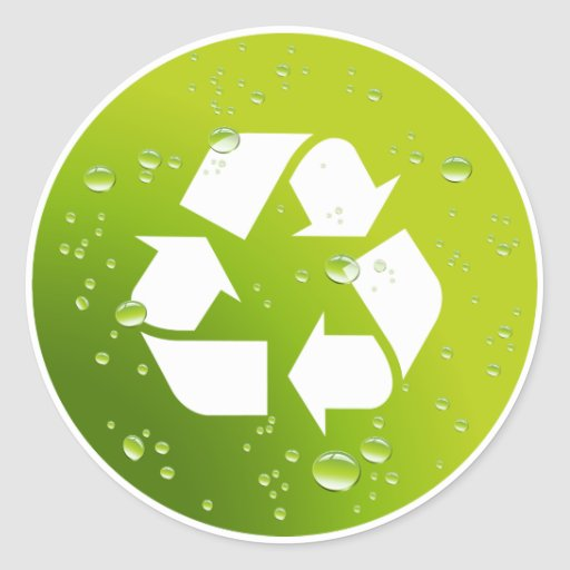 Be Green & Recycle Round Sticker