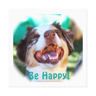 Be Happy!   Australian Shepherd Gallery Wrap Canvas