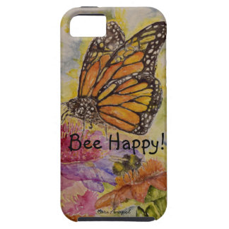 Be Happy Butterfly Watercolor Design iPhone 5 Case