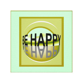 Be Happy by Lin Masters ... Gold/Green/Blue Canvas Print