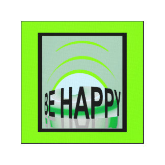 Be Happy by Lin Masters ...Green/Gray/White/Black Canvas Print