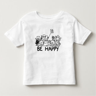 Be Happy Cat Doodle Toddler Fine Jersey T-Shirt