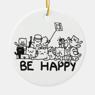 Be Happy Cats Circle Ornament