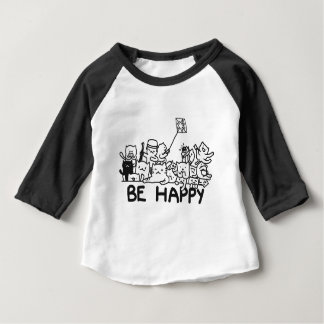Be Happy Cats Doodle Baby T-Shirt