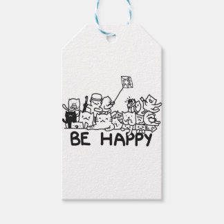 Be Happy Cats Doodle Gift Tags