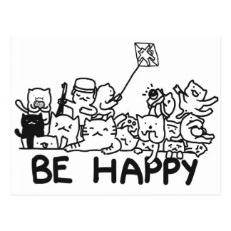 Be Happy Cats Doodle Postcard
