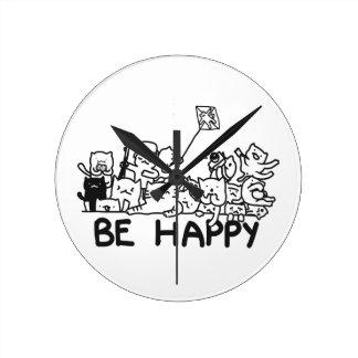Be Happy Cats Doodle Round (Medium)Clock Round Clock