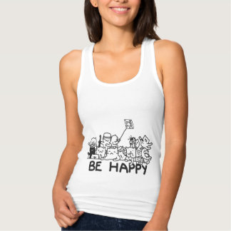 Be Happy Cats Doodle Women's Slim Fit Tank Top