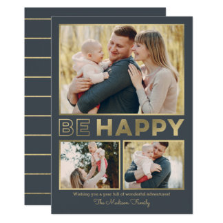 Be Happy EDITABLE COLOR Holiday Photo Card